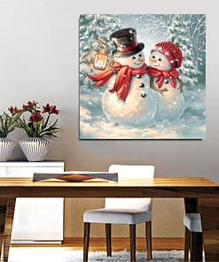 Snowman Couple Diamond Painting