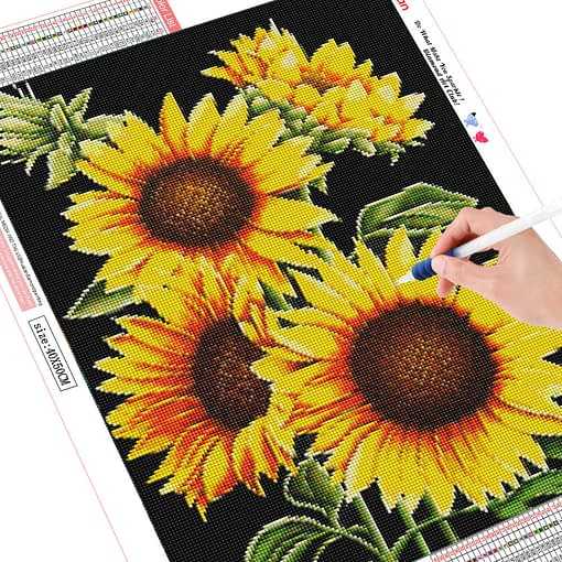 HUACAN Diamond Painting Full Square Sunflower 5D Diamond Embroidery Sale Diamond Mosaic Picture Rhinestone Decor Home