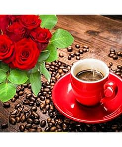 Coffee and Roses Diamond Painting Painting