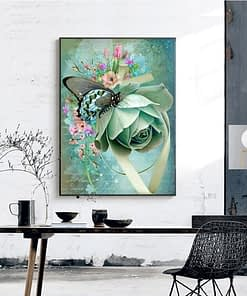 Butterfly On Flower Diamond Painting