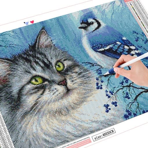 HUACAN Diamond Painting Cat Bird Full Square Drill Home Decoration Display Rhinestone Picture Kits Embroidery