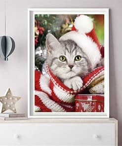 Christmas Cat Winter Diamond Embroidery Painting
