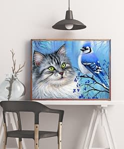 Cat Bird Diamond Painting