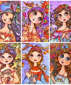 Cartoon Girl Diamond Embroidery Painting