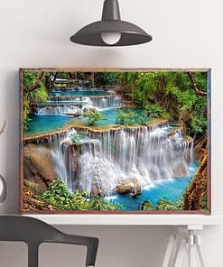 HUACAN Diamond Painting Waterfall Full Square Stones Home Decoration Landscape Diamond Embroidery Scenery Mosaic Beaded Picture