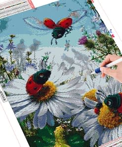 Diamond Embroidery Cartoon Rhinestone Cross Stitch Full Round Diamond Painting Insect Picture Diamond Mosaic Hobby Decor