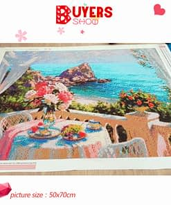 HUACAN Full Drill Square Diamond Painting Landscape 5D DIY Diamond Embroidery Flowers Home Decoration Sea Picture
