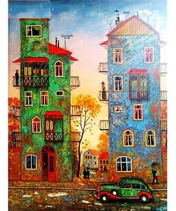 5D DIY Cartoon City Diamond Painting