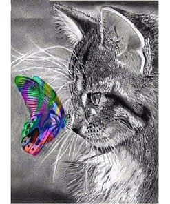 5D Cat With Butterfly Diamond Painting