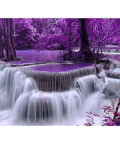5D Diamond Painting Purple Waterfall