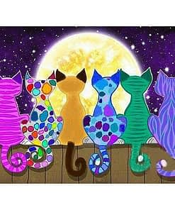 5D Diamond Painting Cats And Moon