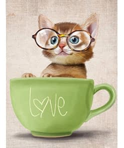 5D Diamond Painting Kitten In A Cup