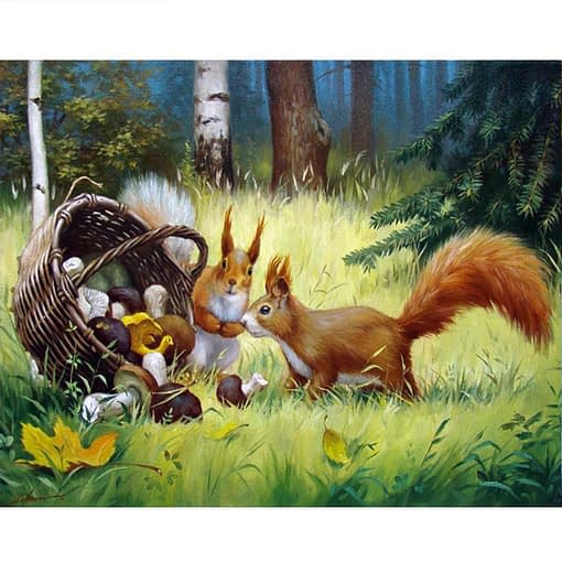 Squirrel Full Square Diamond Embroidery Painting