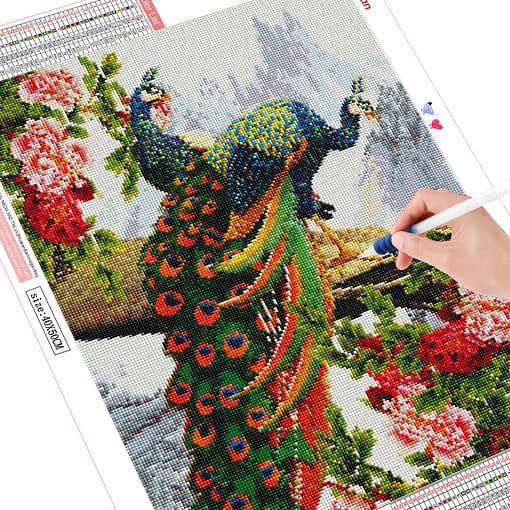 HUACAN 5d Diamond Painting Peacock Animals Picture Of Rhinestone Full Drill Square Diamond Embroidery Decoration Home