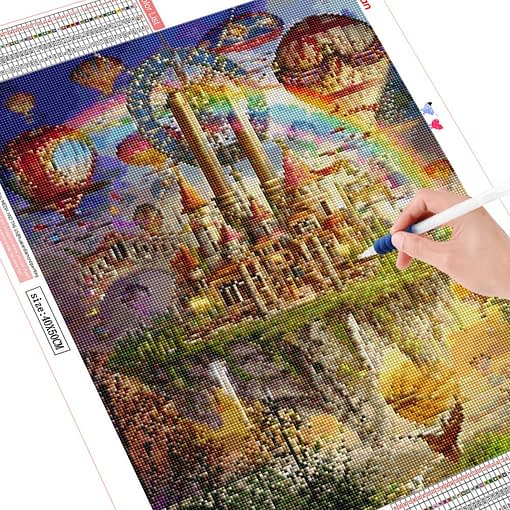 HUACAN DIY Diamond Painting Landscape Forest Castle Cross Stitch Mosaic Daimond Painting Scenery Full Square Home