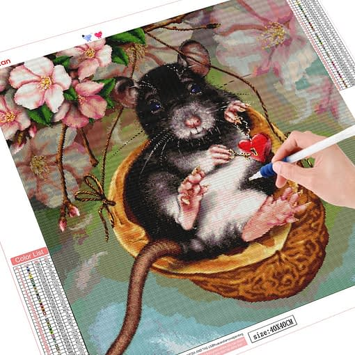 HUACAN Diamond Embroidery Mouse 5d Diamond Painting Cross Stitch Full Square Cartoon Mosaic Picture Of Rhinestones