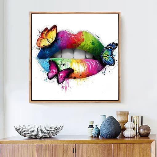 HUACAN New Arrivals 5D Diamond Painting Lip Full Square Diamond Mosaic Butterfly Diamond Embroidery Cross Stitch