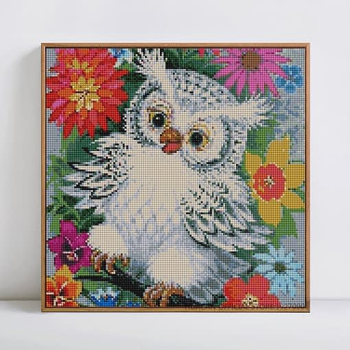 Huacan Diy Diamond Painting Cartoon Owl Baby Cross Stitch Colorful Diamond Embroidery Flowers Around Home Decor