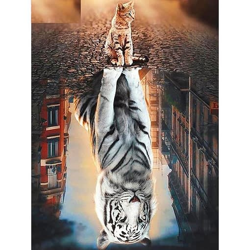 5D DIY Cat And Tiger Diamond Painting