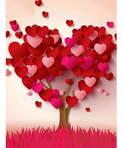 5D Cartoon Love Tree Diamond Painting